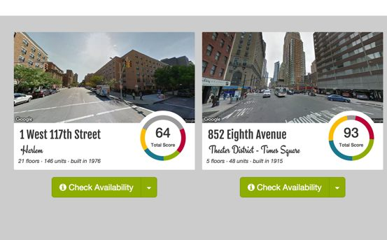 Screenshot of Revaluate property comparison page